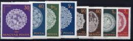 HUNGARY 1960 Halas Lace Set Of 8 MNH / **.  Michel 1660-67 - Hungary