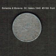 BOHEMIA & MORAVIA    50  HALERU  1940  (KM # 3) - Coins