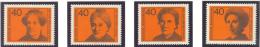 BL3-48 GERMANY 1974 MI 791-794 FAMOUS GERMAN WOMEN, ROSA LUXEMBURG, HELENE LANGE. MNH, POSTFRIS, NEUF**. - Beroemde Vrouwen