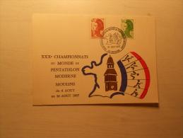 CARTE - XXXe Championnats Du Monde De PENTATHLON MODERNE à Moulins Du 06 Au 16/08/1987 - Altri