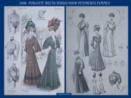 1908 ADVERT PAGES FOR WOMENS CLOTHING PUBLICITE RECTO VERSO POUR VETEMENTS FEMMES - Publicités