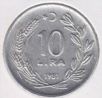 @Y@    Turkije   10 Lira  1981      (2458) - Turquia