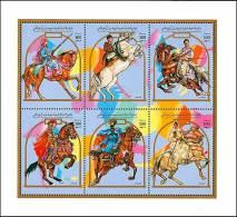 LIBYA 1992 HORSE RIDERS M/S MNH SCARCE WEAPONS, COSTUMES - Horses