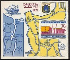 INDONESIA - 1971 Djakarta Anniversary Souvenir Sheet. Smal Perf Separation Top Right Corner. Scott 803. MNH ** - Indonesia
