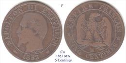 F-1853 MA, 5 Centimes - Francia