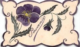 ¤¤  -  Carte Fantaisie  -  Souvenir  -  Violette  -  Peinte à La Main    -  ¤¤ - Fleurs, Plantes & Arbres