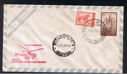 RB 953 - 1959 Argentina Helicopter Cover - Buenos Aires To Rosario - Aviation Theme - Argentine