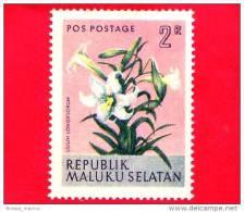Etichette Di Fantasia -  1954 - Republik Maluku Selatan - Flora - Piante - Lilium Longiflorum - 2 - Altre Collezioni