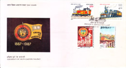 India First Day Cover 28.03.1987 - Centenary Of South Eastern Railway, Bengal Nagpur Railway - Unused Stamps