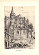 1891 - Albert ROBIDA Lithographie Originale : Abside Notre-Dame à Eu - FRANCO DE PORT - Lithographien