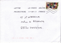France: Lettre Prioritaire 20g NVI-stamp Flowers Used On Cover 2011  NVI = Non Value Indicator   (G45-36) - Post