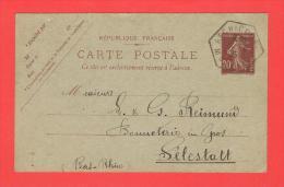 C.Hexagonal RECHICOURT Moselle  8.6.1925 Entier Semeuse  Date 452 - Entiers Postaux