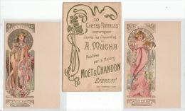 MUCHA Alfonse : Série Complète De 10 Cartes Postales Avec La Pochette Pour Les Champagnes Moët Et Chandon- Très Bon état - Mucha, Alphonse