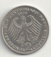 Deutschland 2DM Deutsche Mark Konrad Adenauer 1976 G - Siehe Beide Sehr Guten Scans! - 2 Mark