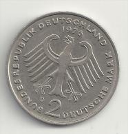 Deutschland 2DM Deutsche Mark Theodor Heuss 1976 D - Siehe Beide Sehr Guten Scans! - 2 Mark