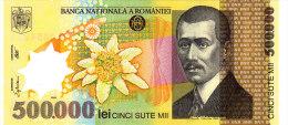 ROMANIA  500.000 Lei  2000 ***UNC*** P-115 POLYMER PLASTIC - Rumänien