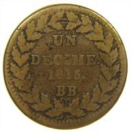 Décime Louis XVIII 1815 BB - Francia