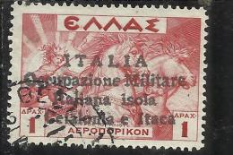 OCCUPAZIONE ITALIANA CEFALONIA E ITACA KEPHALONIA ITHACA 1941 MITOLOGICA DEL 1937  AEREA AIR 1 D USED  SIGNED FIRMATO - 9. WW II Occupation (Italian)