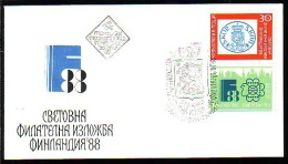 "BULGARIA / BULGARIE - 1988 - ""Finlandia'88"" Exposition Philatelique Internationale A Helsinki - FDC - FDC"