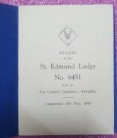 La Franc-maçonnerie, Les Règlements De La St Edmund Lodge # 6451 1947 - Decrees & Laws