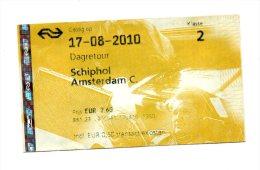 TICKET - TRAIN - AEROPORT / VILLE - AMSTERDAM - - Chemins De Fer