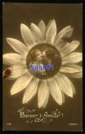 Lot De 2 CPA - Couple D´amoureux S´embrassant Au Coeur D´une Fleur -Baiser D´Amour - Cachet Postal Hexagonal  Gillonnay - Couples