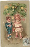 CPA Fantaisie Relief Gaufrée NOEL Enfants Bougies Décoration Sapin Embossed  CHRISTMAS Children Candles 1906 - Non Classificati