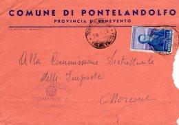 1955 STORIA POSTALE COMUNI D'ITALIA SILVIO PELLICO LIRE 25 COMUNE DI PONTELANDOLFO(BENEVENTO) --R248 - 1946-60: Storia Postale