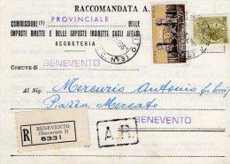 1960 STORIA POSTALE RACCOMANDATA OLIMPIADE ROMA LIRE 35+SIRACUSANA LIRE 50 DA BENEVENTO--R256 - 1946-60: Storia Postale
