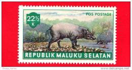 Etichette Di Fantasia - 1955 - Republik Maluku Selatan - Animali Della Foresta - Pos Postage - 22.5 - Altre Collezioni