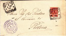 Volterra (Pisa) Timbro Poste Tondoriquadrato Su Plico Viagg. 1907 Per Pistoia Timbro Tondoriquadrato Al Retro - 1900-44 Vittorio Emanuele III