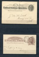 USA 1887,1898 (2) Postal Stationary Cards From New York, Evansville - 1847-99 General Issues