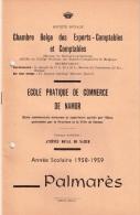 PALMARES ECOLE PRATIQUE DE COMMERCE DE NAMUR 1958-1959 - Diplômes & Bulletins Scolaires