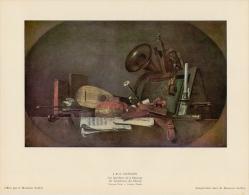 SOUBRY :Prent/Image 14–2: J.B.S. CHARDIN :  ## De Toebehoren Der Muziek / Les Attributs De La Musique ## - Estampas & Grabados