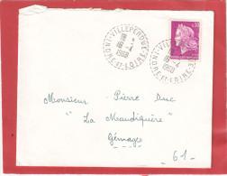 CHEFFER 30C SUR LETTRE CAD POINTILLE VILLEPERDUE INDRE ET LOIRE 16/4/68 POUR GEMAGES ORNE - 1967-70 Maríanne De Cheffer