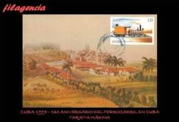 TRASTERO. CUBA. ENTEROS POSTALES. TARJETAS MÁXIMAS 1997. 160 ANIVERSARIO DEL FERROCARRIL EN CUBA - Maximumkarten