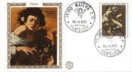 Fdc Filagrano Gold 1973 Caravaggio A/f Matera No Venetia - FDC