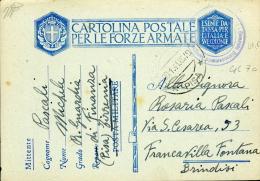 FRANCHIGIA MILITARE WWII 1941 GUARDIA DI FINANZA TIRRENIA X FRANCAVILLA FONTANA - Correo Militar (PM)