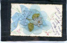 Fleur , Tissu , Broderie , Tres Belle Carte - Brodées