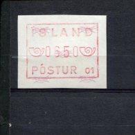 240406874 IJSLAND   POSTFRIS MINT NEVER HINGED POSTFRISCH EINWANDFREI ATM MICHEL 1.1 B FACIALE 0650 - Vignettes D'affranchissement (Frama)
