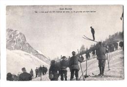 Chasseurs Alpins - Saut De 34 Mètres En Ski - Richaud - Dos écrit Et Timbré - France