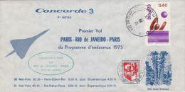 PLANES, CONCORDE, PARIS- RIO DE JANEIRO FIRST FLIGHT, SPECIAL COVER, 1975, BRASIL - Concorde