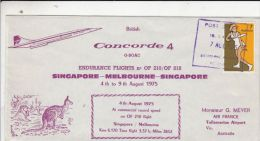 PLANES, CONCORDE, SINGAPORE MELBOURNE- SINGAPORE ENDURANCE FLIGHT, SPECIAL COVER, 1975, AUSTRALIA - Concorde