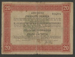 [NC] MONTENEGRO (AUSTRIAN OCCUPATION) - 20 PERPERA / 10 KRONEN (1917) - Jugoslavia