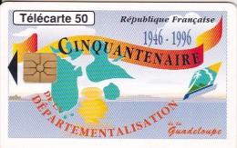 France, 0628.Gem1A Noir, Guadeloupe Cinquantenaire, 2 Scans. - Schede Telefoniche