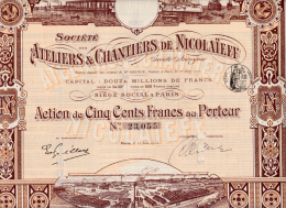 ACTION DE 500 FRANCS -ATELIERS ET CHANTIERS DE NICOLAIEFF -1912 - Navigation