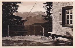 Germany Oberammergau Starnbergerhuette am Laber mit Zugspitze Re
