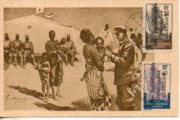 cameroun. carte postale. 2 et 4c. corps exp�ditionnaire franco allemand au cameroun