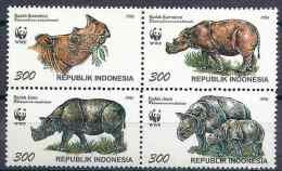 1996 INDONESIE 1474-77** Animal: Rhinocéros - Indonesia