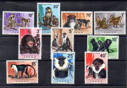1971  Monkeys  Afen  Singes, 785 / 794**, Cote 90 € - Democratic Republic Of Congo (1964-71)